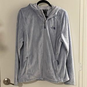 North Face Fuzzy Ice Blue ZIP Up Jacket